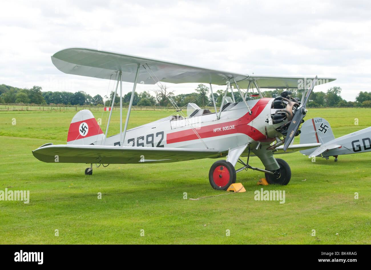 Focke Wulf FW44 Stieglitz wartime German trainer biplane - Stock Image