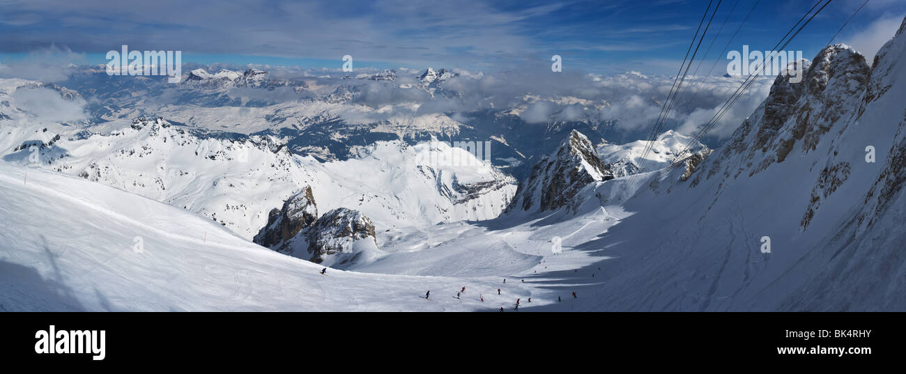 panoramic image of Dolomites mountains in winter, Italy, from the Marmolada glacier towards N-E, - Stock Image