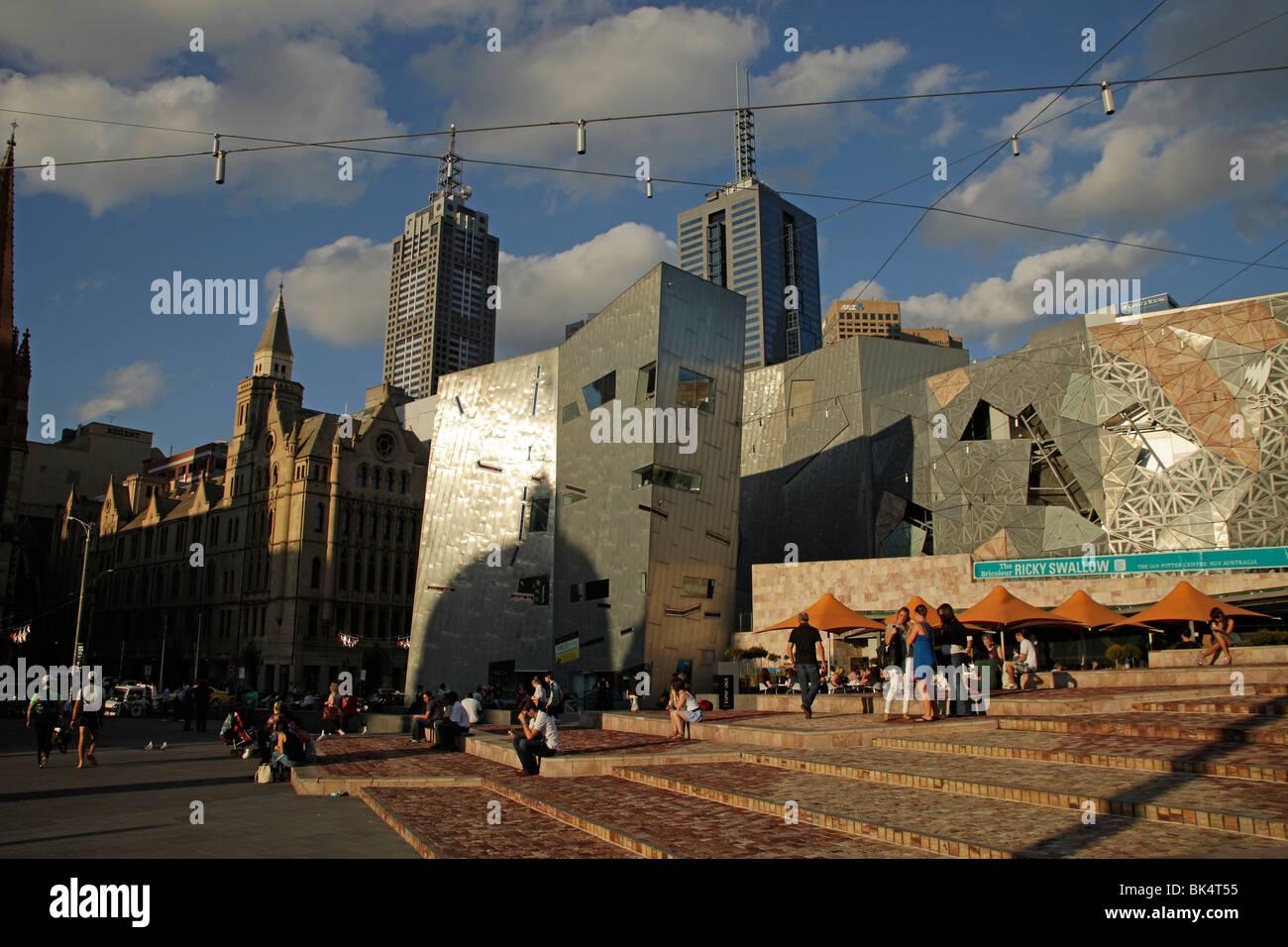 Architecture on Federation Square in Melbourne, Victoria, Australia Stock Photo