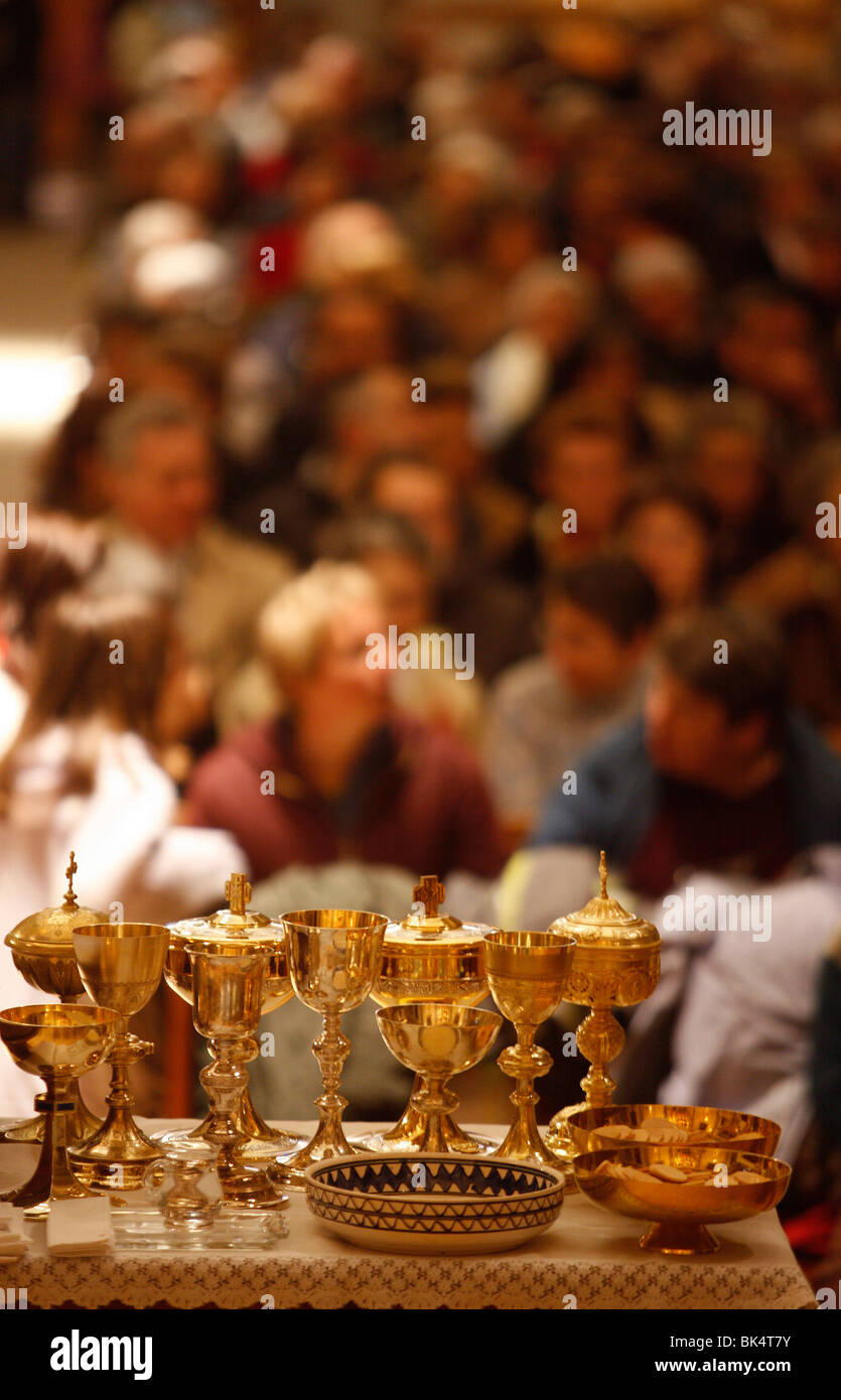 Liturgical objects, Taninges, Haute Savoie, France, Europe - Stock Image