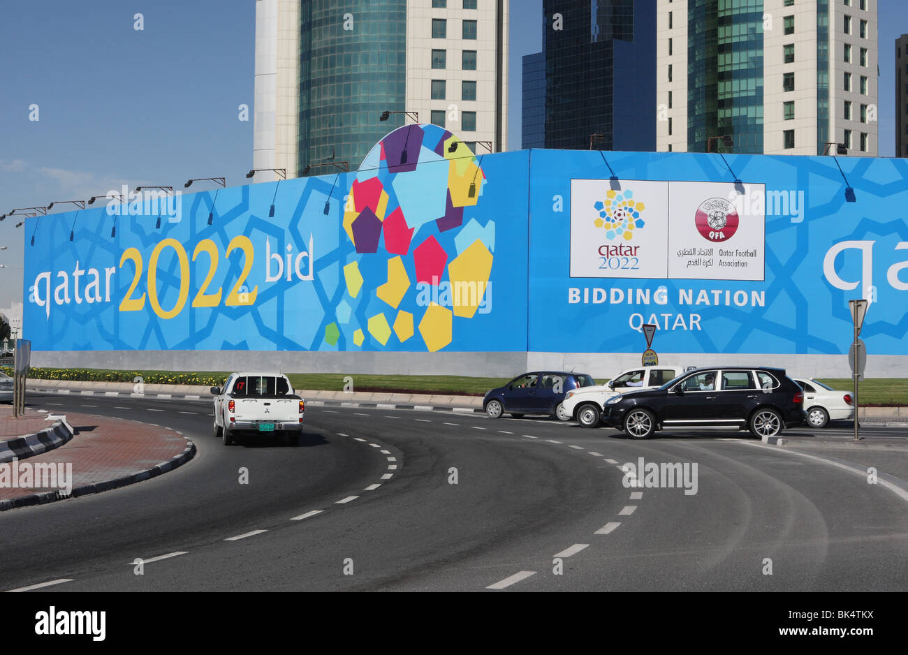 Advertisement showing that Qatar is a bidding nation for the 2022 FIFA Word Cup - Stock Image