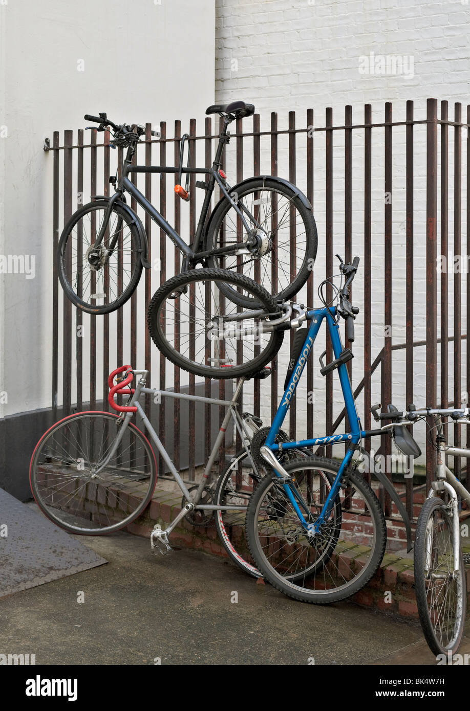 Bicycle parking in London, England. - Stock Image