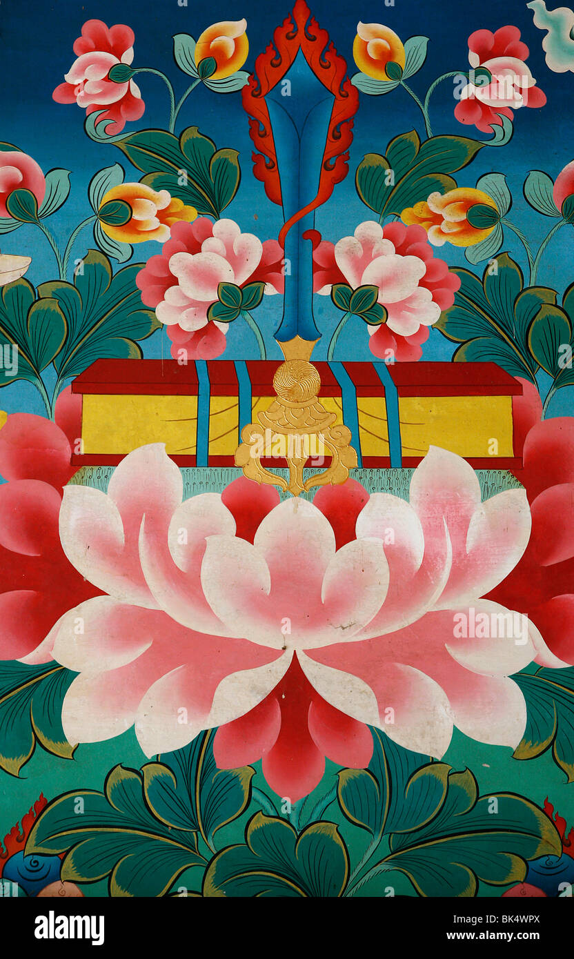 Painting Of Lotus Flower Sword Of Knowledge And Sacred Text Kopan