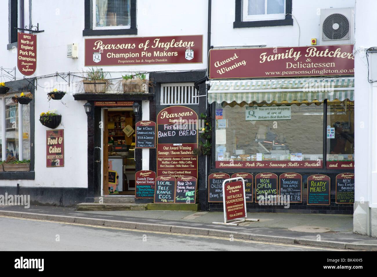 bfe8012846 Pearsons butchers shop, Ingleton, North Yorkshire, England UK - Stock Image