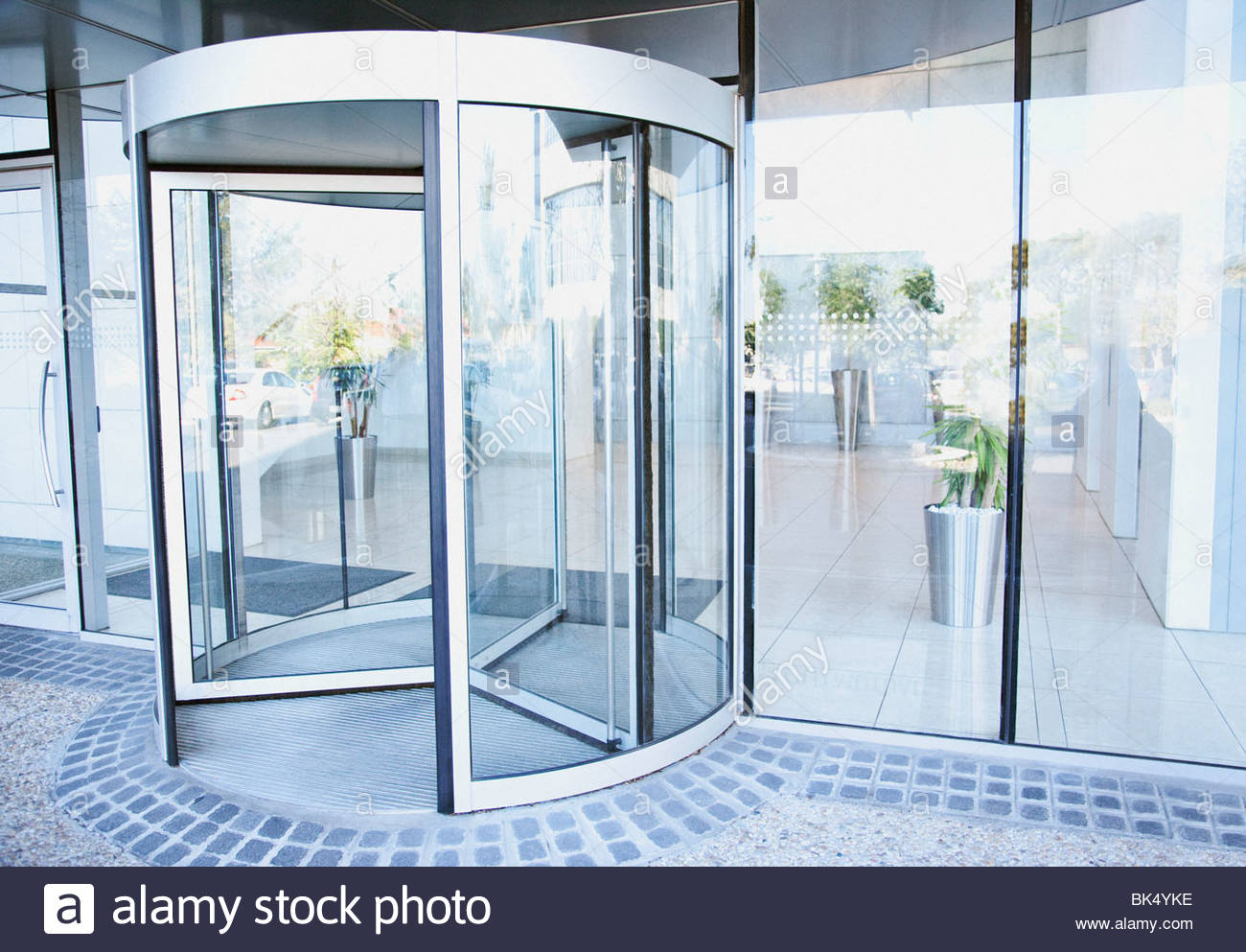 Modern Entrance With Revolving Door   Stock Image