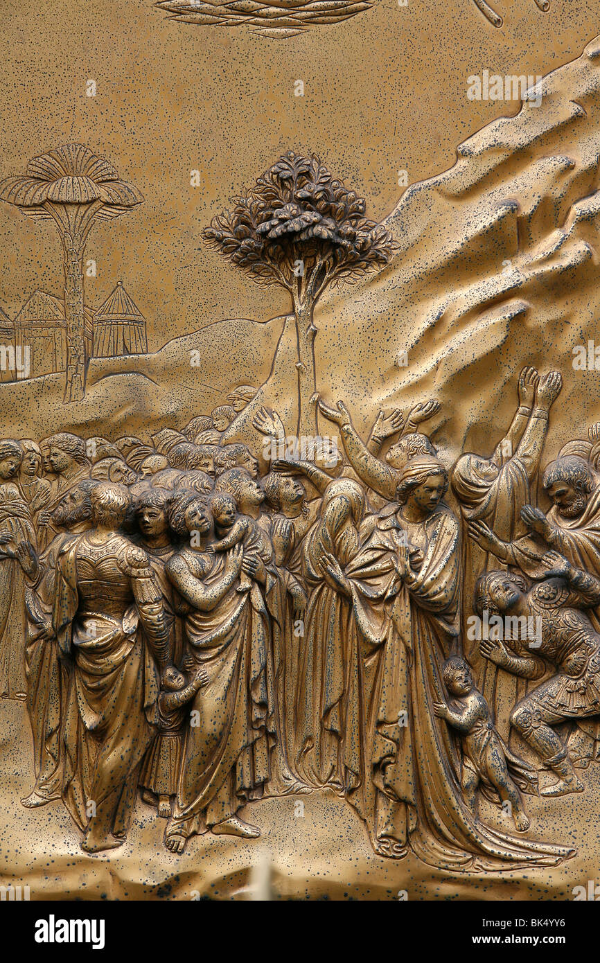 Hebrew people, Gates of Paradise, bronze doors of the Baptistry of San Giovanni,  Florence, Tuscany, Italy, Europe - Stock Image