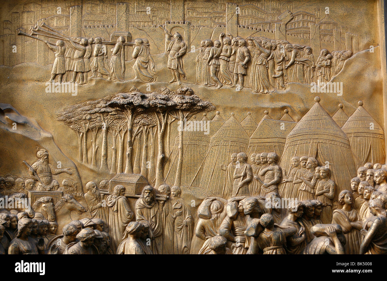 Depiction of the Walls of Jericho, Gates of Paradise, bronze doors of the Baptistry of San Giovanni, Florence, Tuscany, - Stock Image