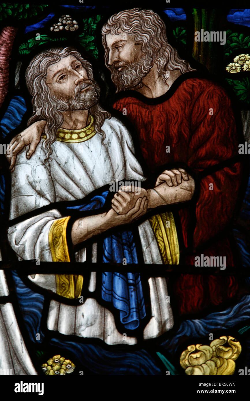 Stained glass of St. John baptising Jesus, Jerusalem, Israel, Middle East - Stock Image