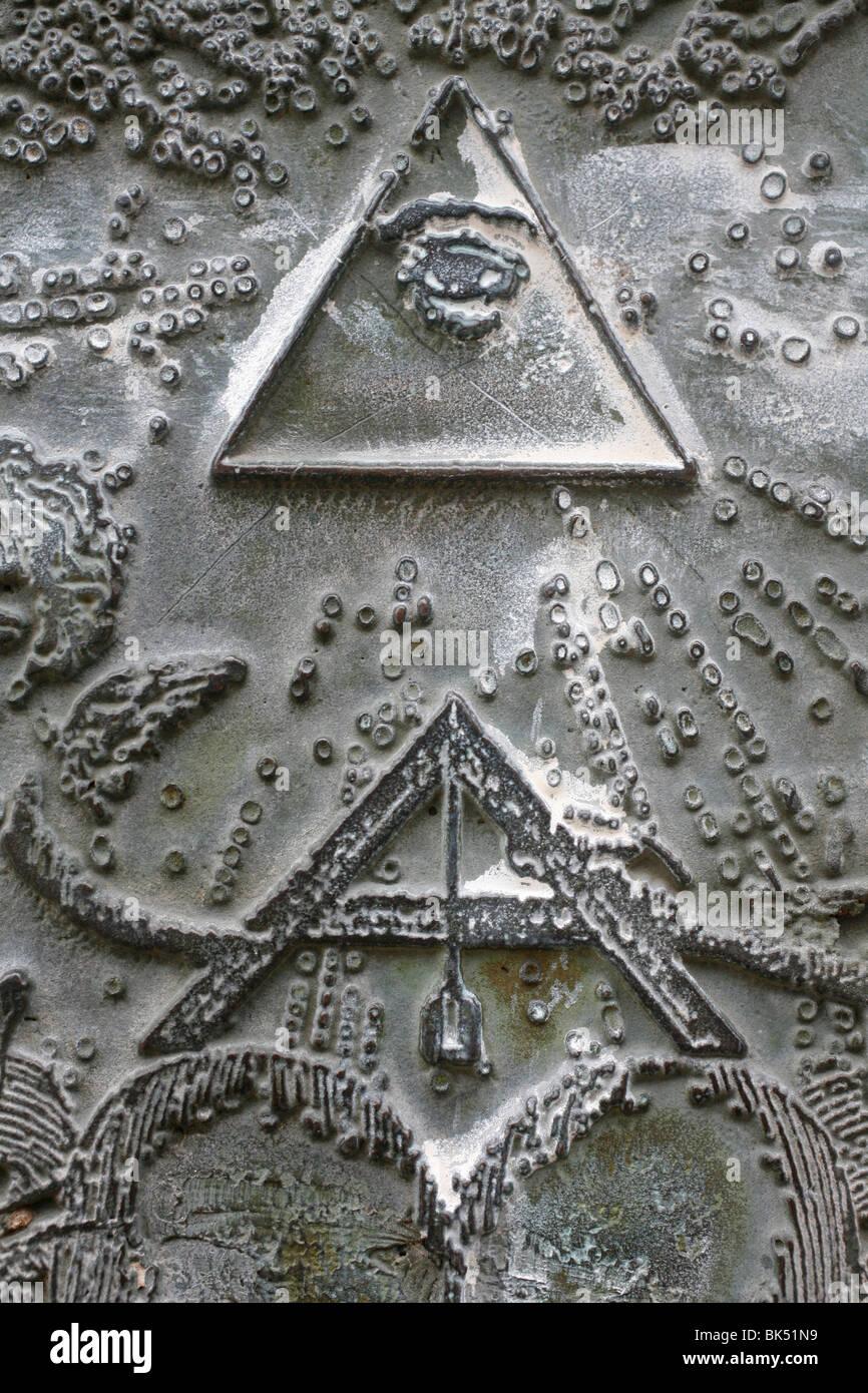 Masonic Symbols Of Angle Bracket And Delta At The Human Right Stock