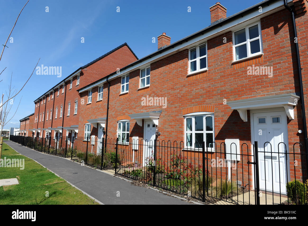 Modern terraced houses at Trench in Telford Shropshire uk - Stock Image