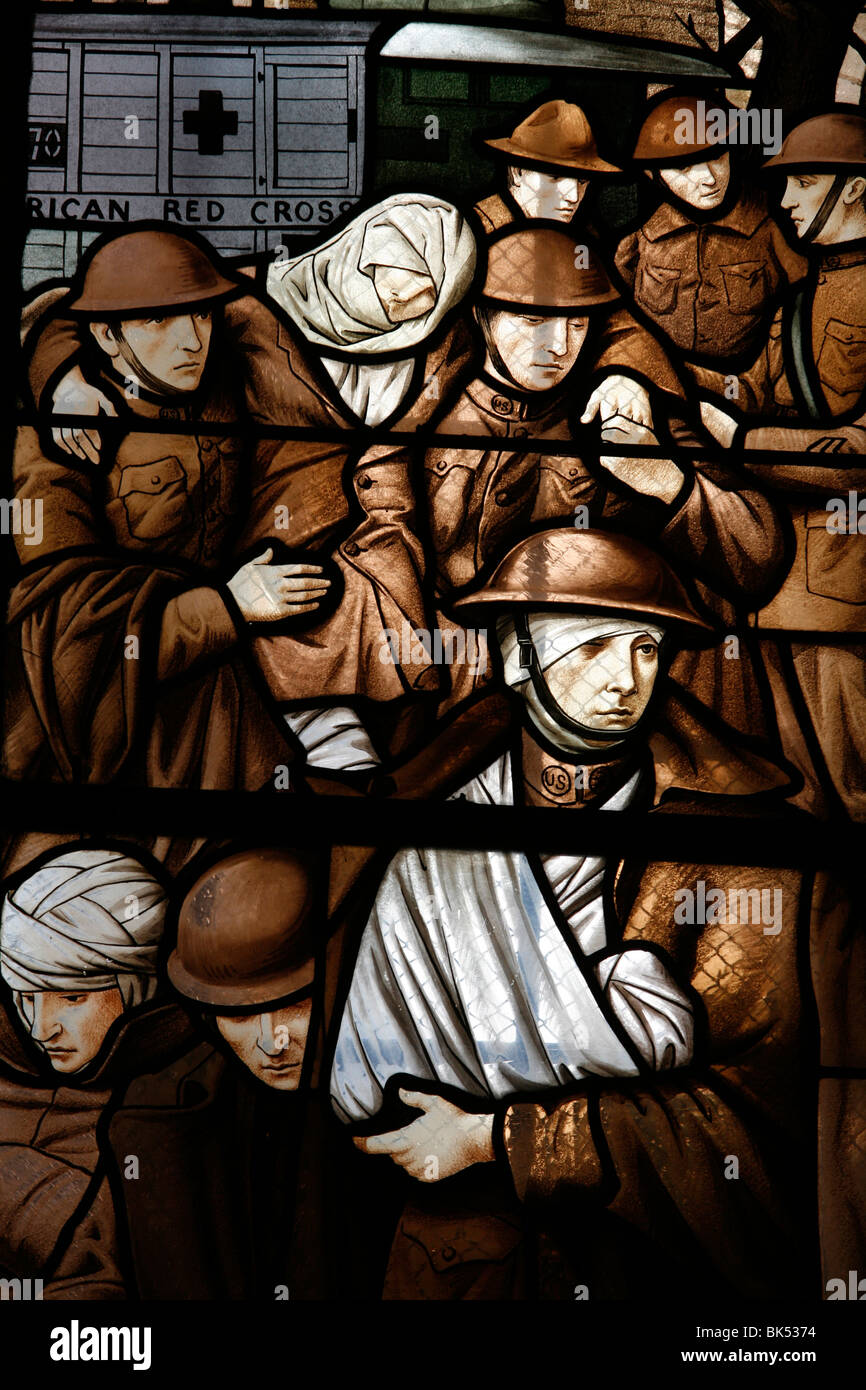 Stained glass depicting victims of the First World War, Semur-en-Auxois, Cote d'Or, Burgundy, France, Europe - Stock Image