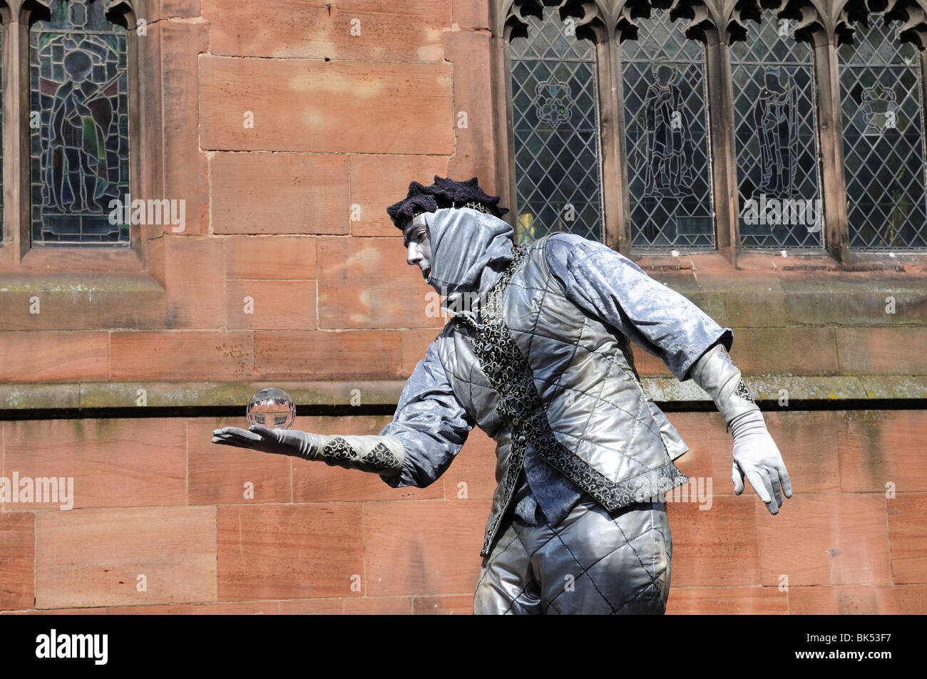 Silver man mime artist Chester Cheshire England UK GB Stock Photo