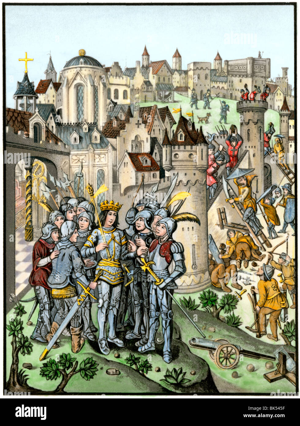 Siege of town defended by the Burgundians under Charles VI, Hundred Years' War. Hand-colored woodcut - Stock Image