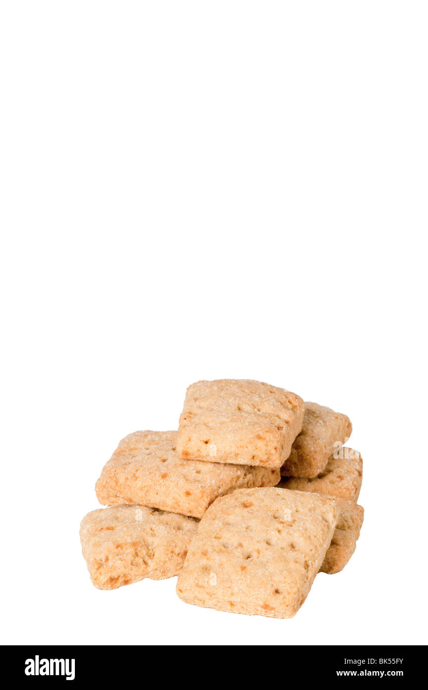 organic wheat biscuits on a white background - Stock Image