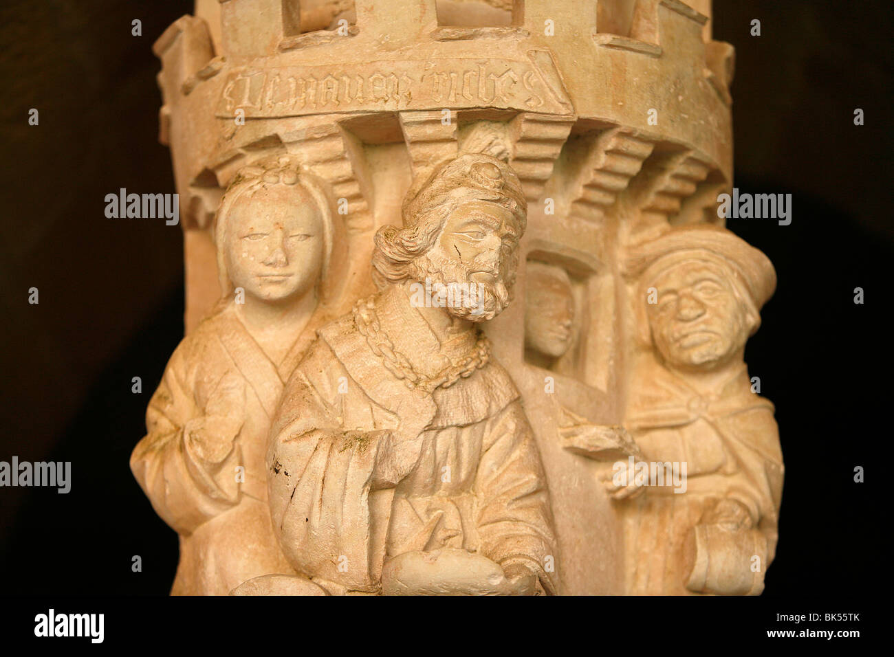 Sculpture of Lazarus and the rich man in the cloister of Cadouin Abbey, Cadouin, Dordogne, France, Europe Stock Photo