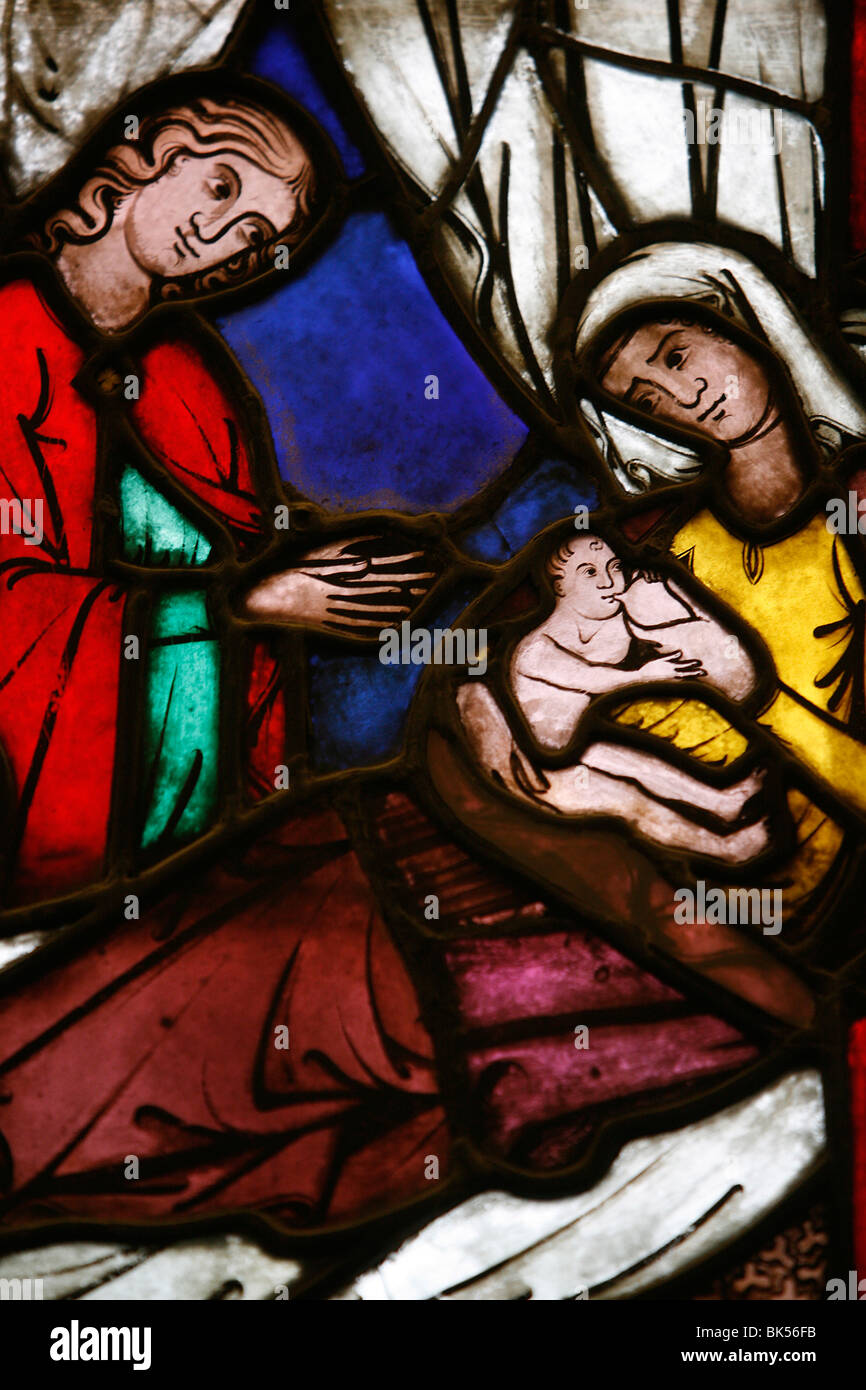 Stained glass of the birth of Isaac, son of Abraham and Sarah, Klosterneuburg, Austria, Europe - Stock Image