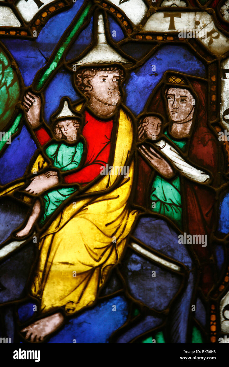 Stained glass of Moses and the Exodus, Klosterneuburg, Austria, Europe - Stock Image