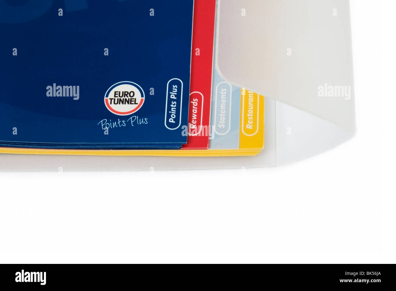 Eurotunnel Points Plus consumer rewords travel pack documents on white background - Stock Image