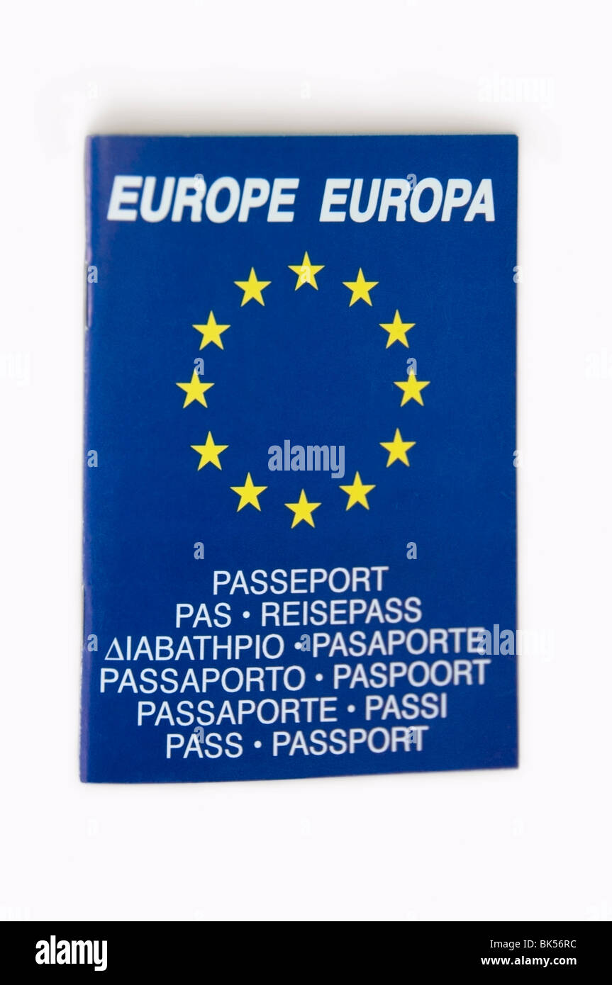Portrait, Bilingual European blue passport, advertising booklet with 12 yellow  stars on white background, Europe, - Stock Image