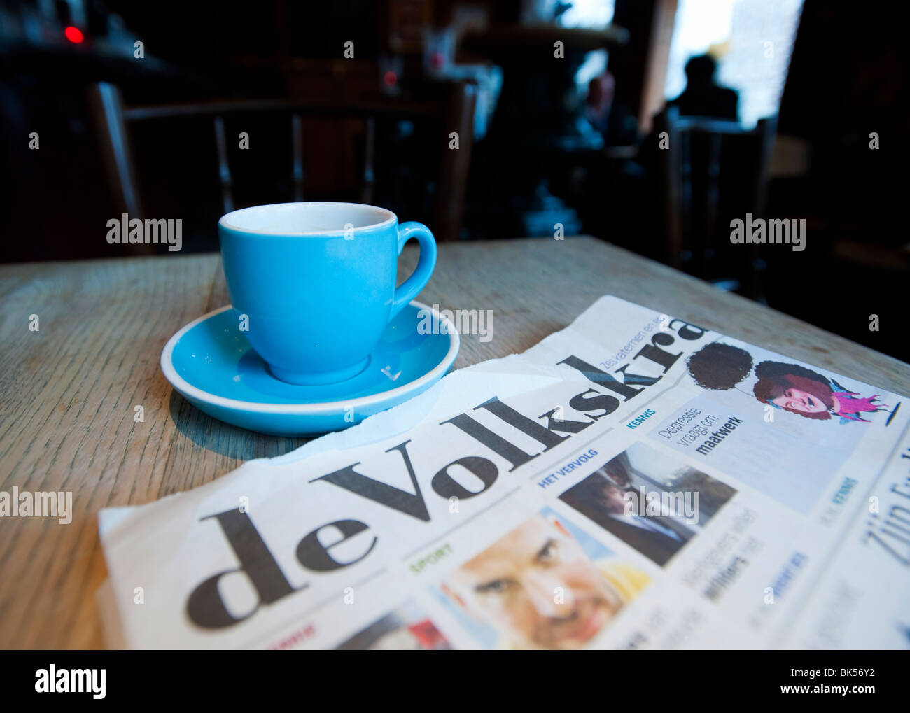 Detail of interior of brown cafe or traditional pub in Amsterdam Netherlands - Stock Image