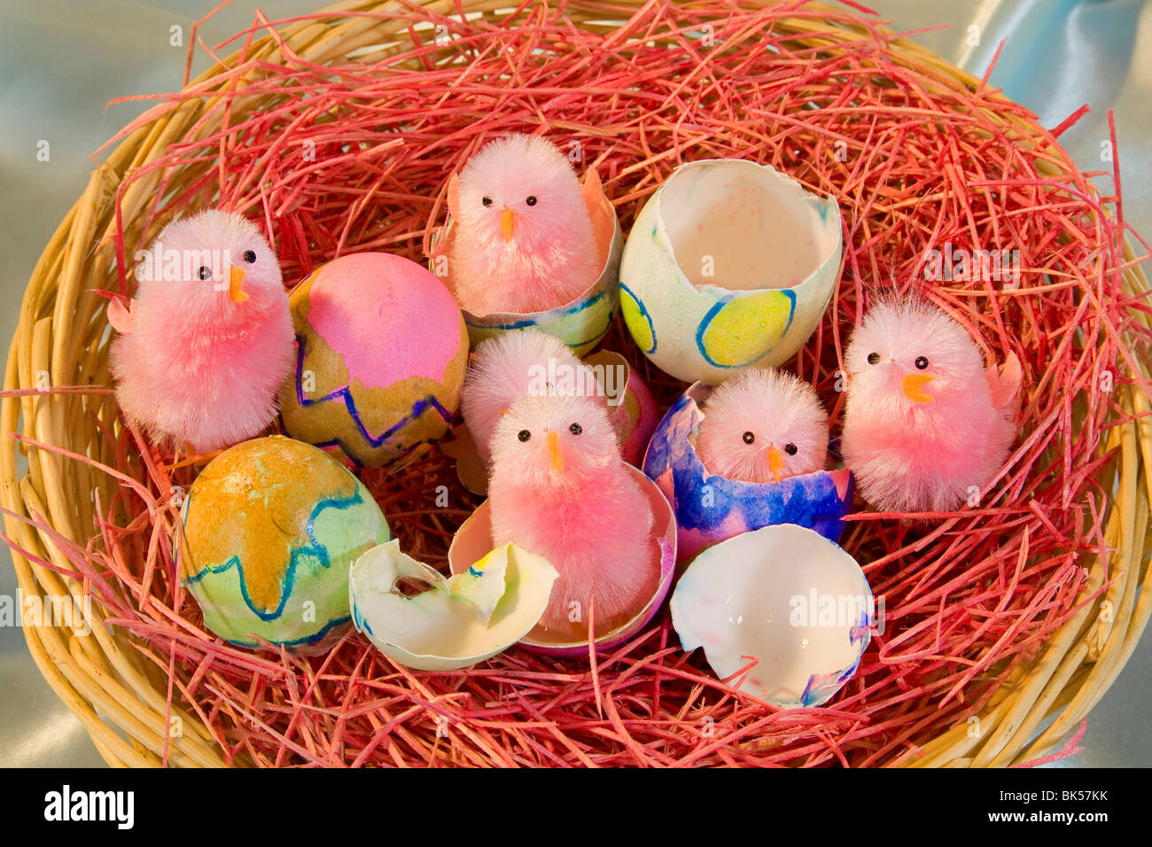 Easter Chick Bunny Egg Eggs Hatch Hatching Basket Stock Photo