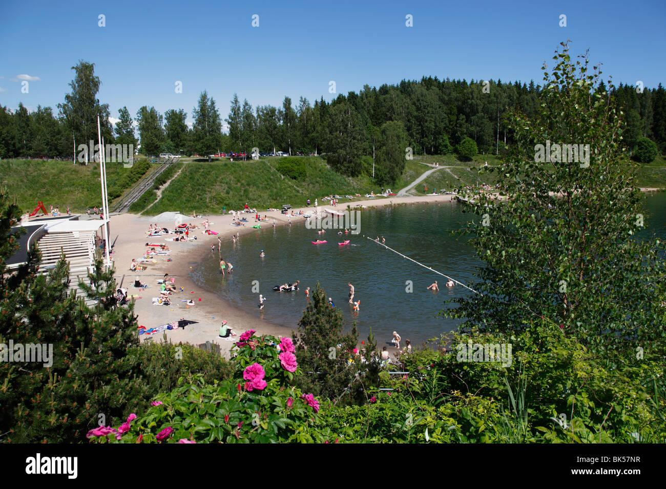Kokonniemi outdoor swimming pool, Porvoo, Uusimaa, Finland, Scandinavia, Europe - Stock Image