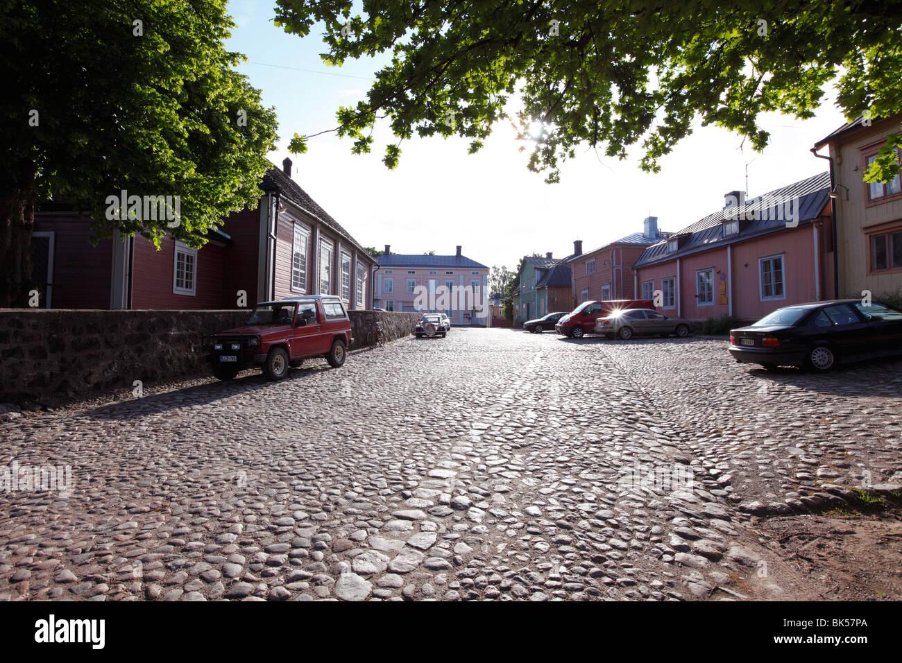 Cobblestone street, Old Town, Porvoo, Uusimaa, Finland, Scandinavia, Europe - Stock Image