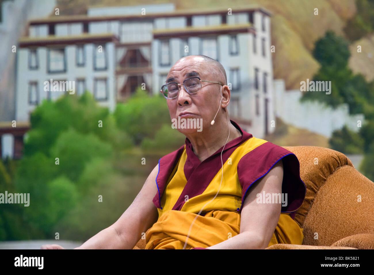 His Holiness the 14th Dalai Lama giving teachings at Tibetan Children's Village in Dharamsala, India - Stock Image