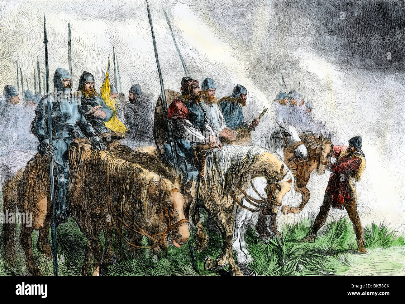 English army on the morning of battle at Agincourt, Hundred Years' War, 1415. Hand-colored woodcut - Stock Image