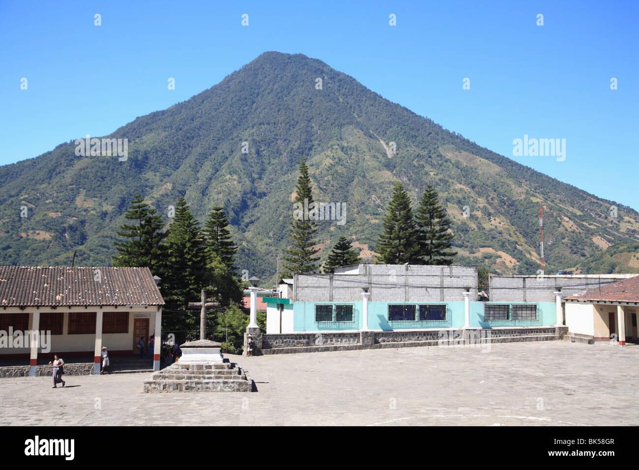 Church Courtyard, Santiago Atitlan, Lake Atitlan, Guatemala, Central America - Stock Image