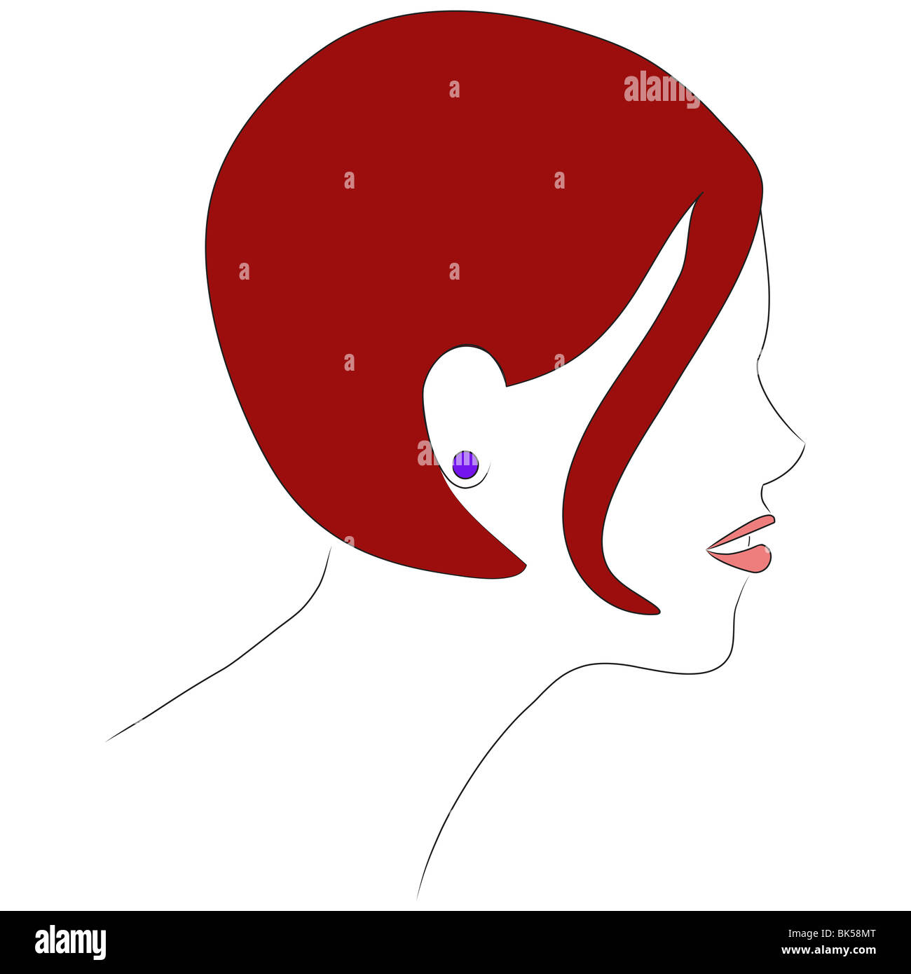 A profile illustration of a girl with short red hair. It done in the style of a 1060s magazine illustration. - Stock Image