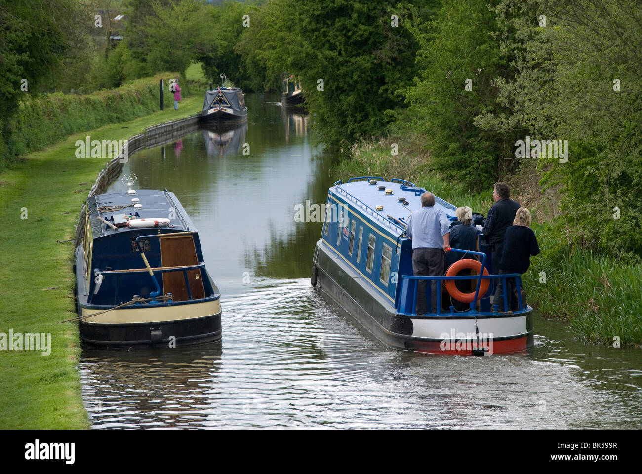 Narrow boats cruising the Llangollen Canal, England, United Kingdom, Europe Stock Photo