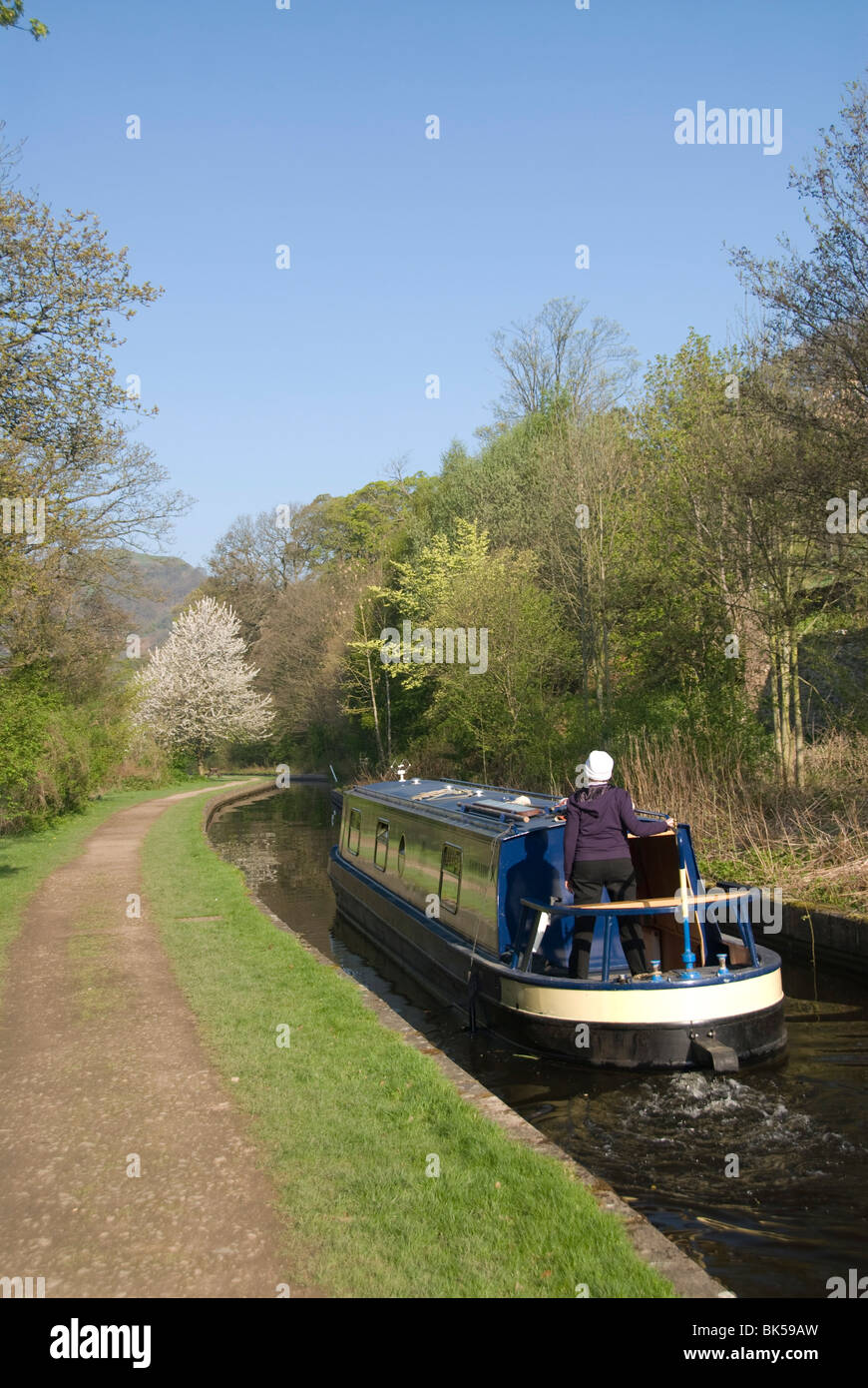A cruising narrow boat on the Llangollen Canal, Wales, United Kingdom, Europe - Stock Image