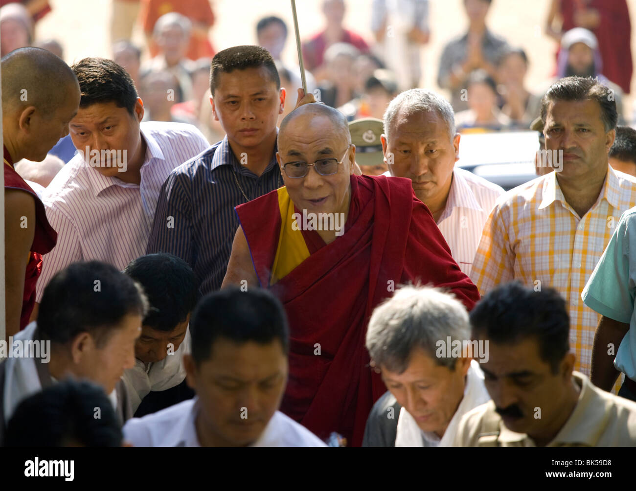 His Holiness the 14th Dalai Lama arrives at Tibetan Children's Village Dharamsala, India campus - Stock Image