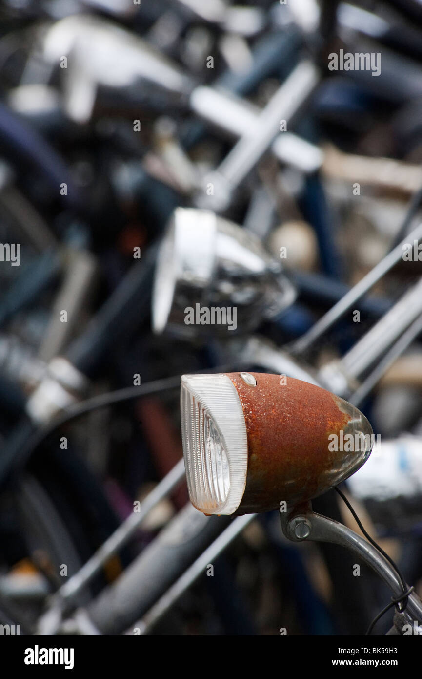 Detail of many bicycles parked in Utrecht in the Netherlands - Stock Image