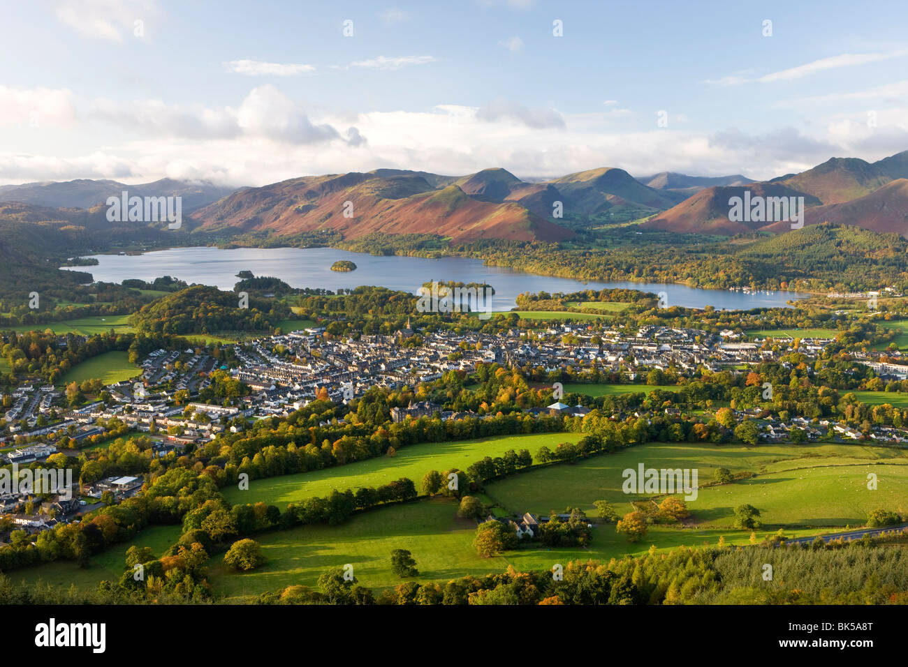 View over Keswick and Derwent Water from the Skiddaw Range, Lake District National Park, Cumbria, England, United - Stock Image
