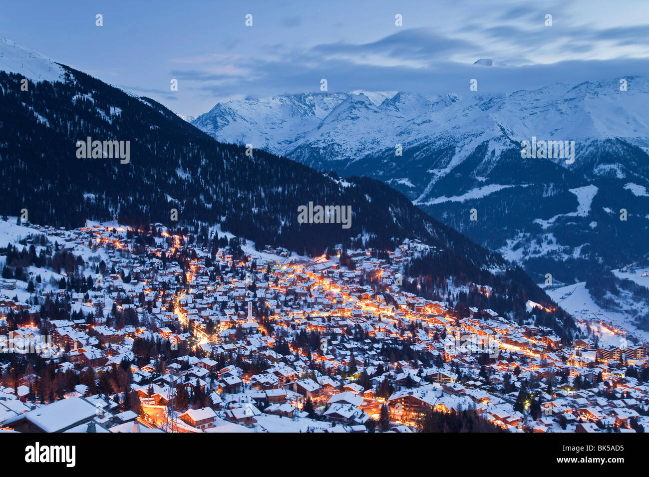 Verbier, Aiguille d`Argentiere Massif in the background, Four Valleys region, Bernese Alps, Valais, Switzerland, Stock Photo