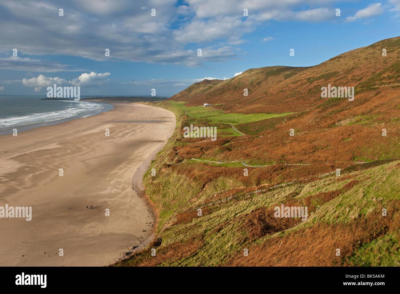 Rhossilli Bay, Gower Peninsula, Glamorgan, Wales, United Kingdom, Europe - Stock Image