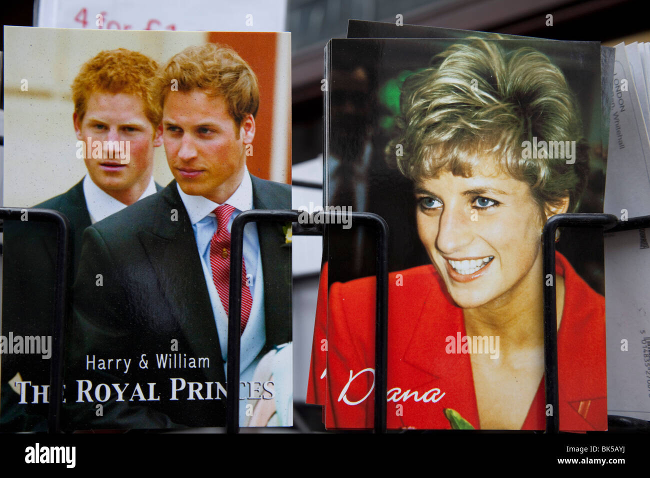 Postcards of Princess Diana and the two Princes Harry and William for sale at a souvenir shop in London. - Stock Image