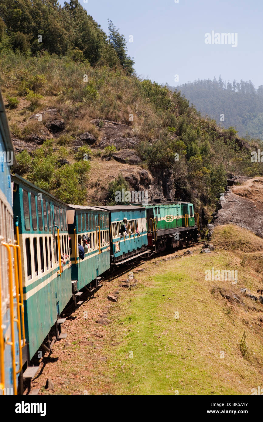 India Tamil Nadu Udhagamandalam Ooty Nilgiri Mountain Railway Rack Train Descending To Or Passing Through Rocky Gorge