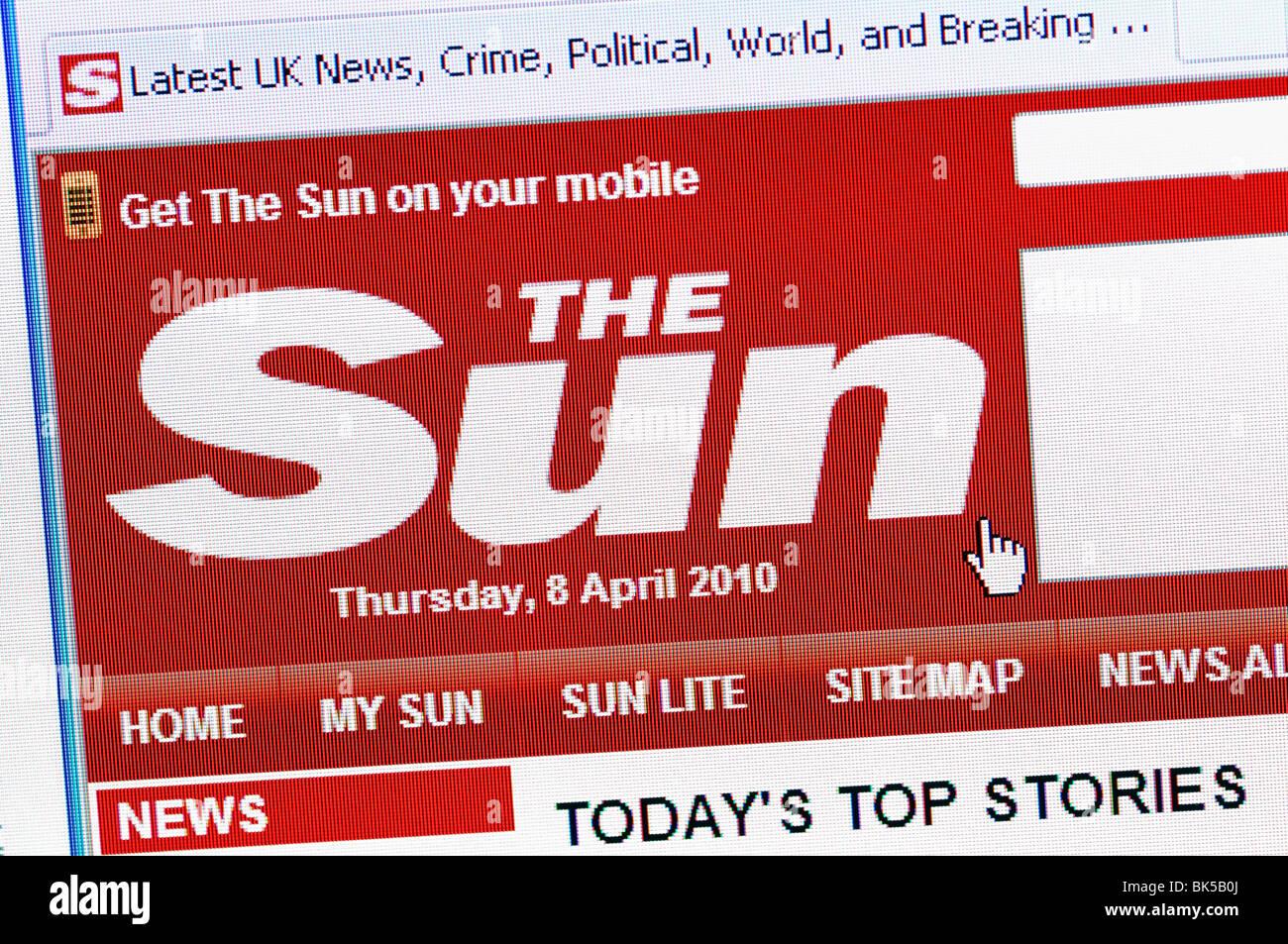 The Sun Newspaper Online Stock Photo