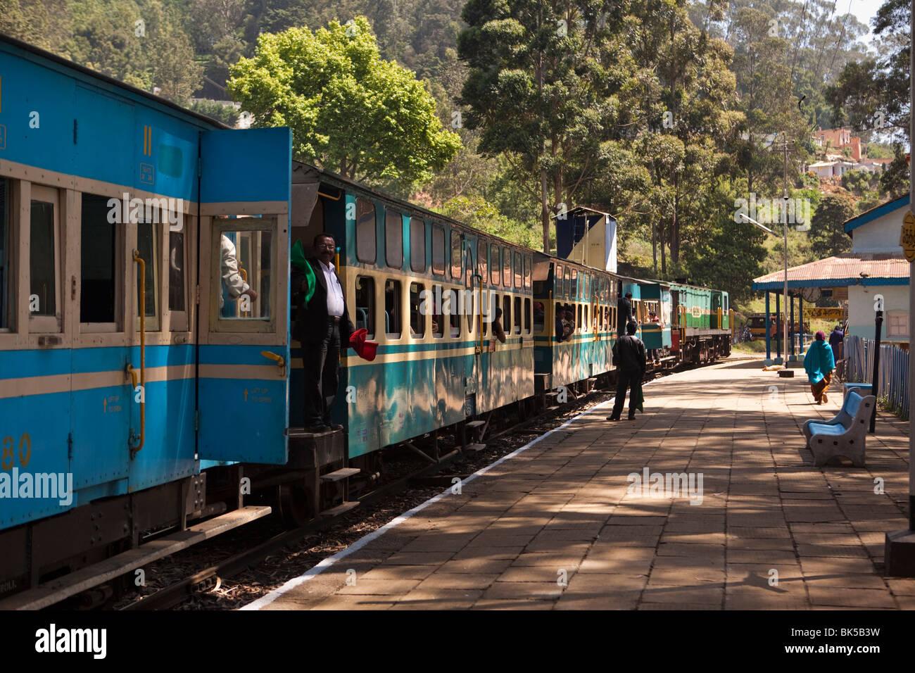 India Tamil Nadu Udhagamandalam Ooty Nilgiri Mountain Railway Rack Train At Station Platform