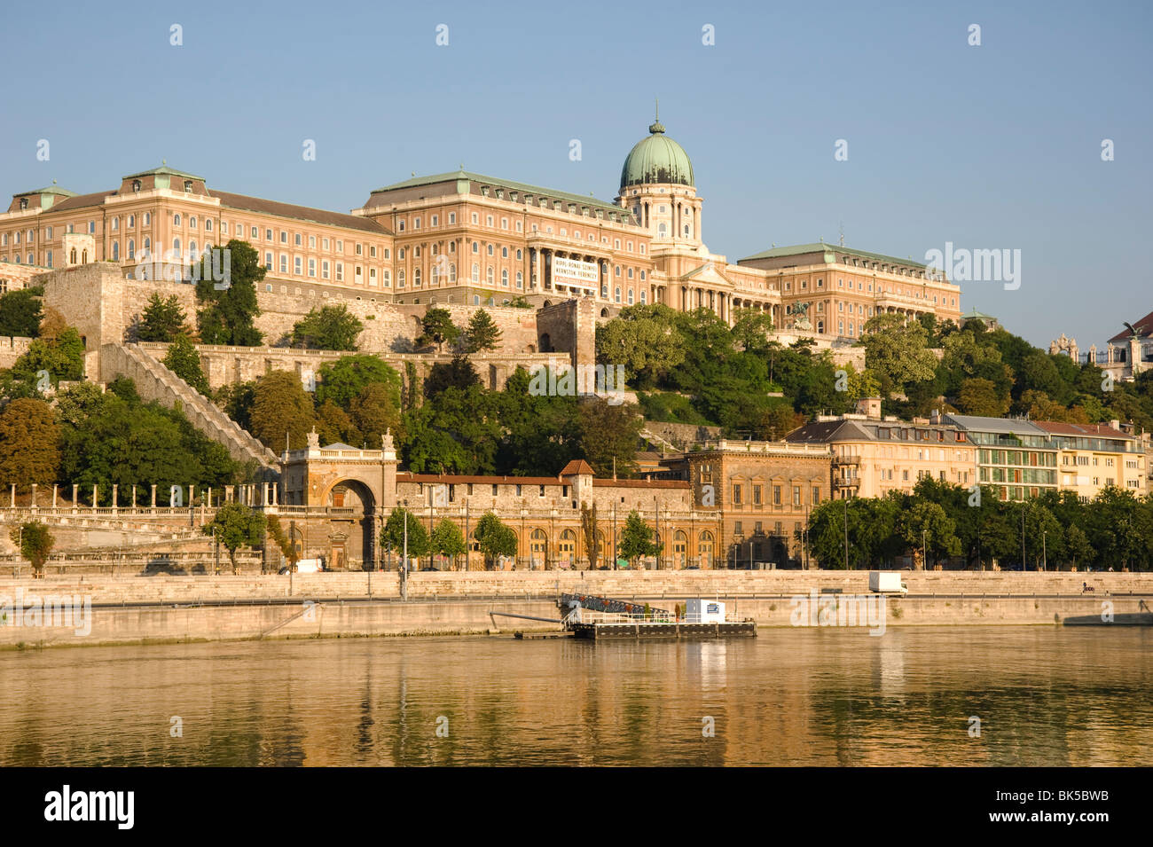 The Royal Palace on Castle Hill seen from the Danube River, Budapest, Hungary, Europe - Stock Image