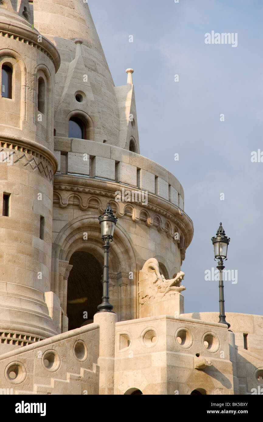 A newly restored section of the Fishermen's Bastion, Budapest, Hungary, Europe - Stock Image