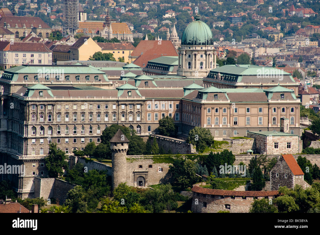 An aerial view of the Royal Palace on Castle Hill from Gellert Hill, Budapest, Hungary, Europe - Stock Image