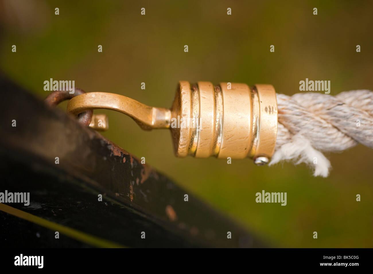 Brass ferrule on end of rope Stock Photo