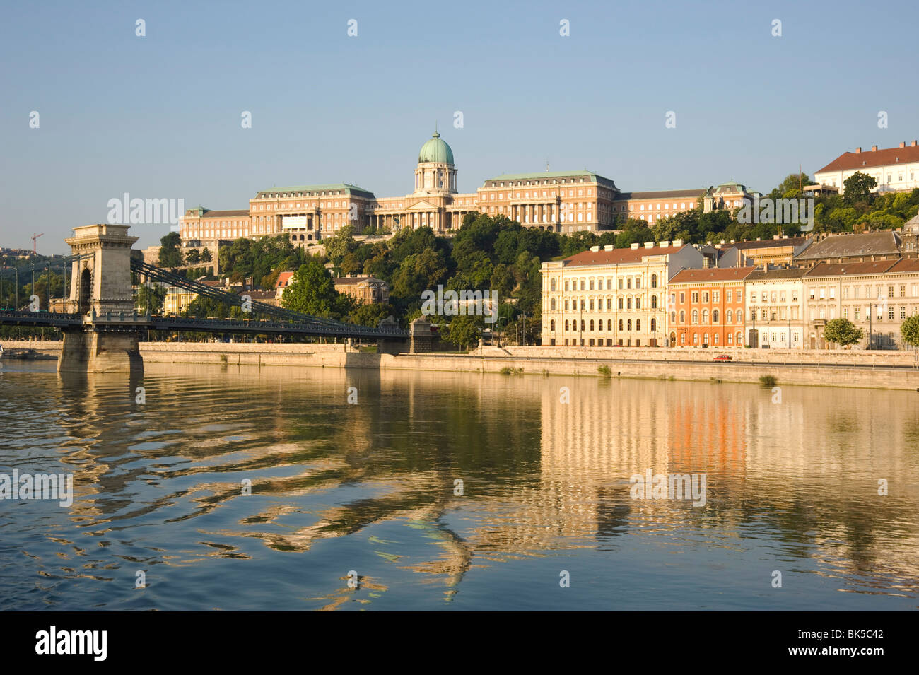 An early morning view of Budapest including the Chain Bridge, Castle Hill and the Danube River, Budapest, Hungary, - Stock Image