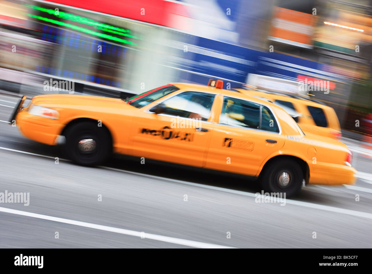 Taxi, Times Square, Manhattan, New York City, New York, United States of America, North America - Stock Image