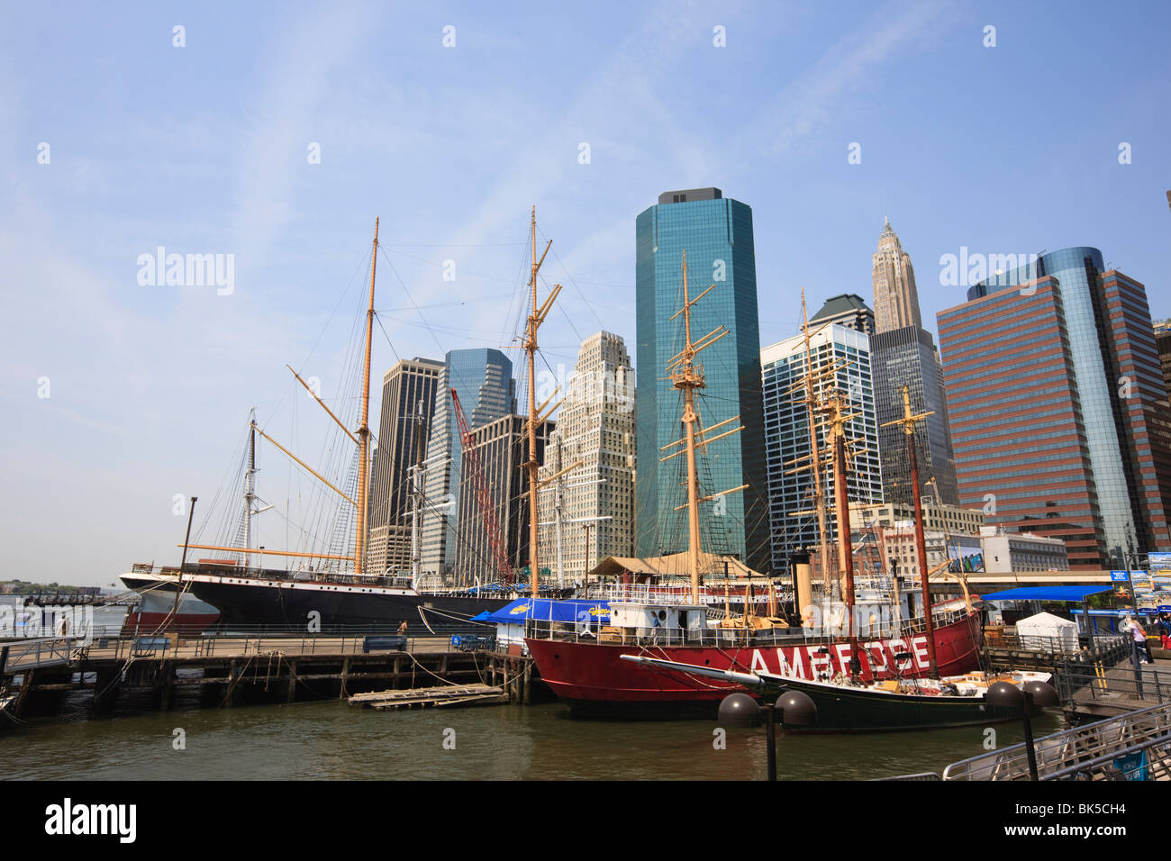 Historic sailing ships at South Street Seaport, Manhattan, New York City, New York, United States of America, North - Stock Image