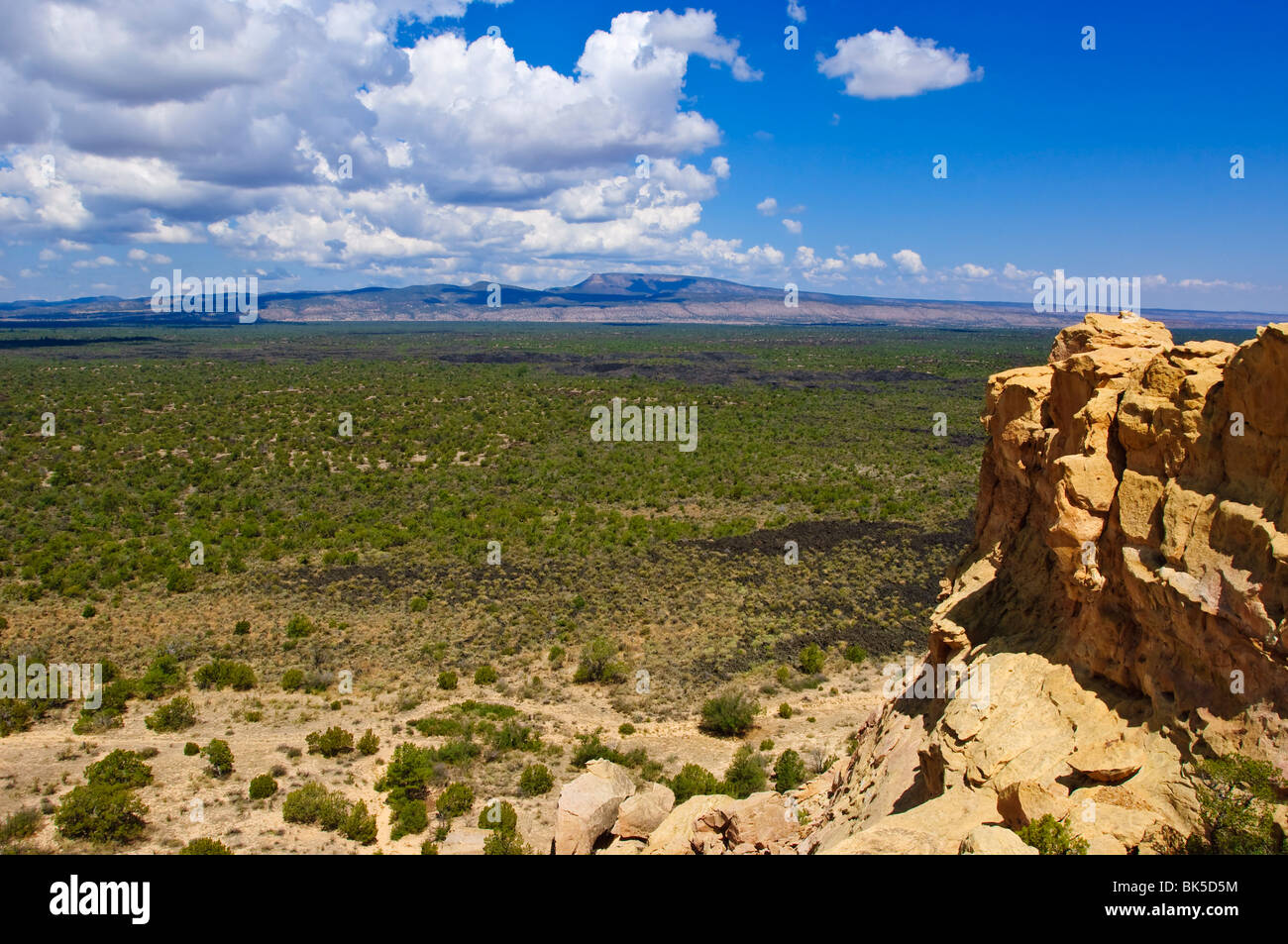 Escarpment and lava beds in El Malpais National Monument, New Mexico, United States of America, North America - Stock Image